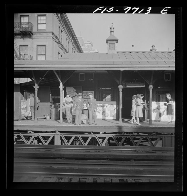 Elevated railway station along the Third Avenue in Manhattan