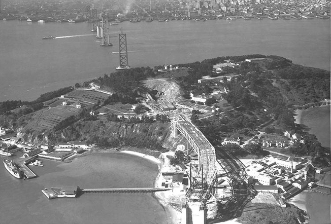 Bay Bridge during construction