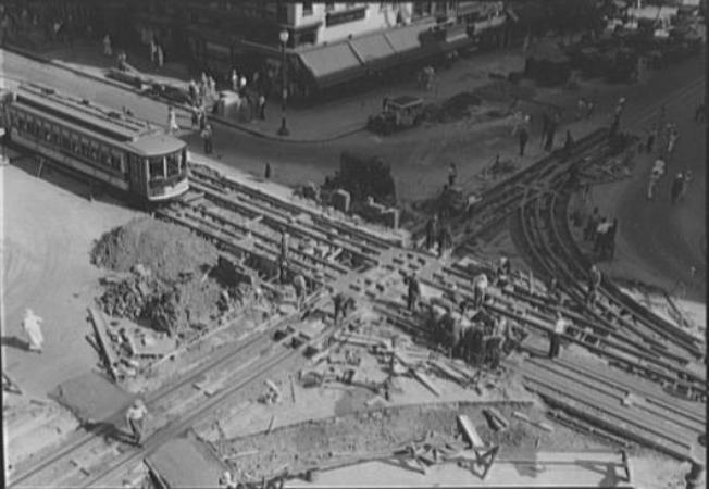 Railways during 11th St and F St crossing repairs